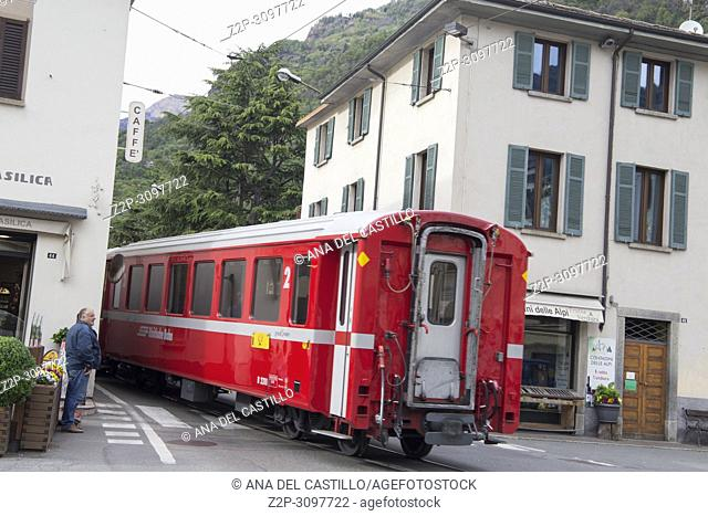 Cityscape in the old town of Tirano Valletellina Italy on April 16, 2017. Departure of the Bernina express train