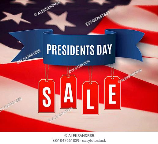 Presidents Day sale background template. Badge with blue ribbon and price tags, on top of American flag. Vector illustration