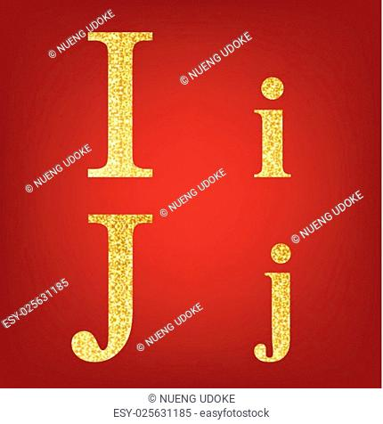 alphabet set made up of gold spangles on the red background