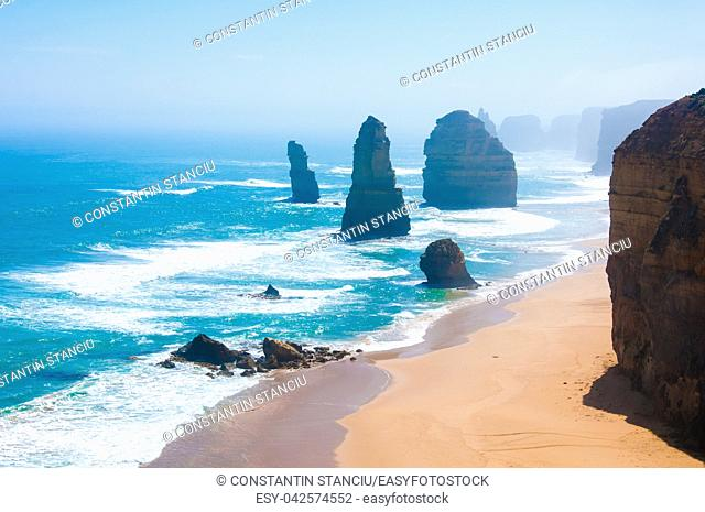The Twelve Apostles, a famous collection of limestone stacks off the shore of the Port Campbell National Park, by the Great Ocean Road in Victoria, Australia