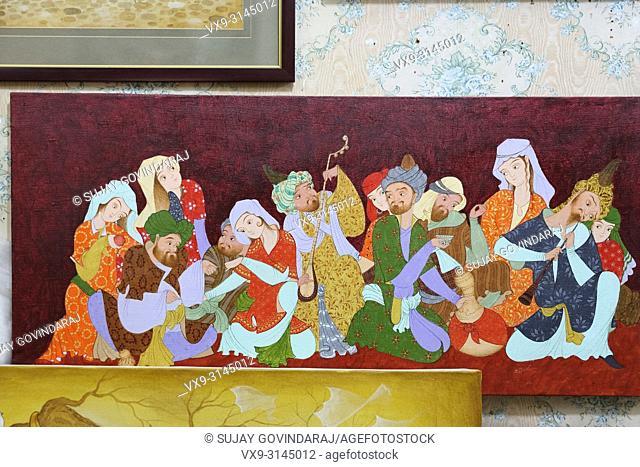 Tashkent, Uzbekistan - May 02, 2017: Close-up of unfinished Uzbek traditional style paintings at Madrasa