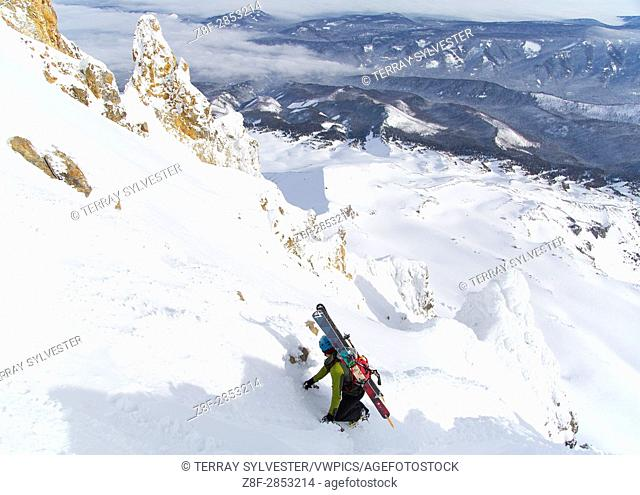 A ski mountaineer ascending Mount Hood, Oregon, United States