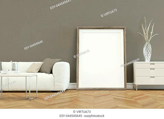 White sofa in modern scandinavian Interior design with canvas 3D Rendering
