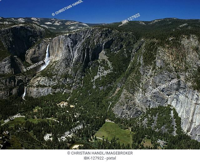 Upper and Lower Yosemite Fall viewed from Glacier Point, Yosemite NP, California, USA