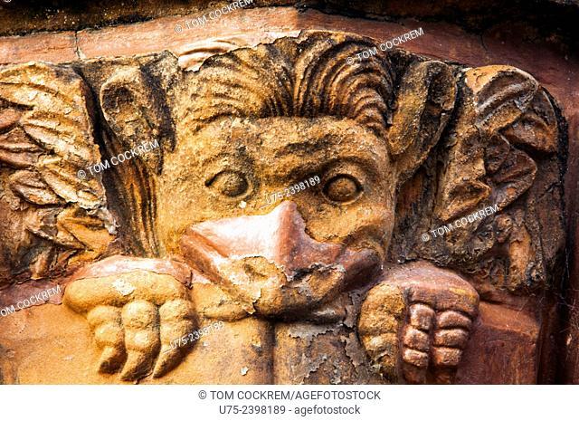 Devil carving on pulpit, cathedral, Jesuit Mission of La Santísima Trinidad de Paraná ruins, Encarnacion, Paraguay