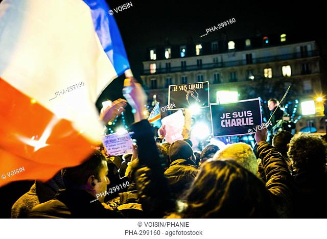 """More than 3 million people took part in a Unity rally """"Marche Republicaine"""" on January 11, 2015 in Paris in tribute to the 17 victims of a three-day killing..."""
