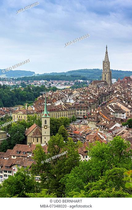 View on Bern old town with cathedral and Nydegg church, Bern, canton Bern, Switzerland