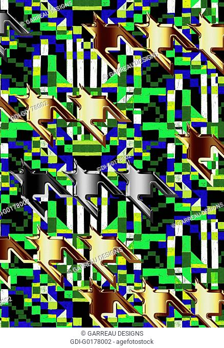 Metallic houndstooth over neon green and blue background