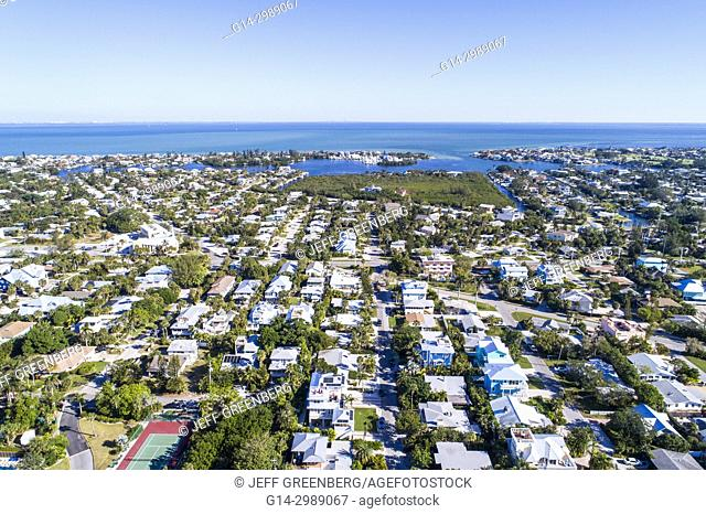 Florida, Anna Maria Island, Holmes Beach, Bimini Bay, Tampa Bay, houses homes residences, aerial overhead view above bird's eye