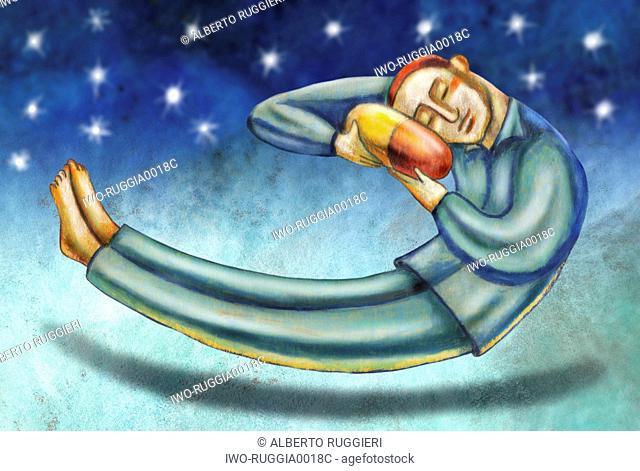 Sleeping man using a pill as a pillow