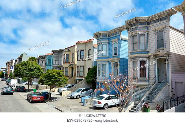 SAN FRANCISCO - MAY 20 2015:Row of Victorian Italianate houses in San Francisco, California.One of the great charms of San Francisco is the variety of...