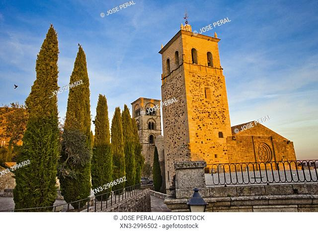 On background Julia tower, Romanesque style, of the church Santa Maria la Mayor, Trujillo, Caceres Province, Extremadura, Spain, Europe