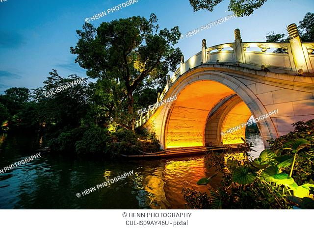 Guilin's identical Arched Marble Bridges at Rong and Gui Lakes, Guangxi, China