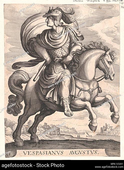 Emperor Vespasian on Horseback, from the series The First Twelve Roman Caesars, plate 11. Series/Portfolio: The First Twelve Roman Caesars; Artist: Matthäus...