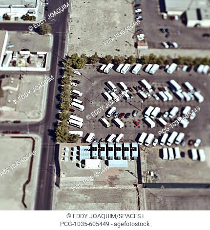 Aerial View of Urban Parking Lot