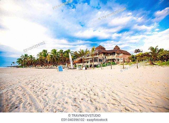 Picturesque bungalow-hotel on tropical beach, Mexico, Tulum