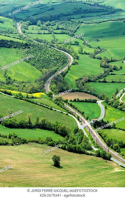 43. 965827, 3. 029352 , Landscape in Tournemire, near Roquefort-sur-Soulzon, Aveyron 12, région Languedoc-Roussillon-Midi-Pyrénées, France, Europe