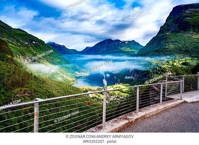 Geiranger fjord, Beautiful Nature Norway. It is a 15-kilometre (9.3 mi) long branch off of the Sunnylvsfjorden, which is a branch off of the Storfjorden (Great...