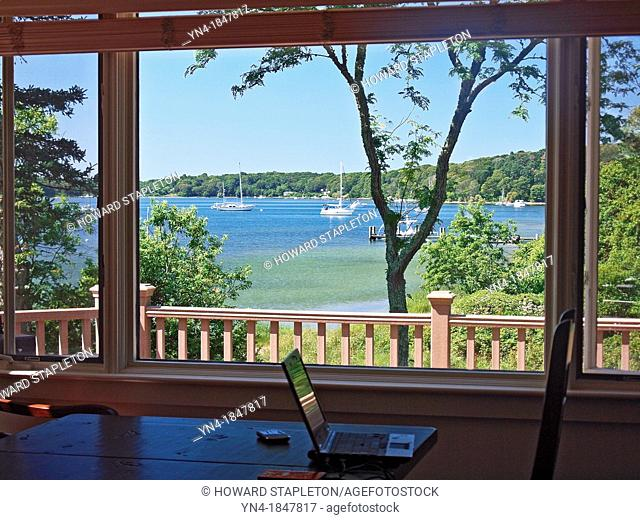 Lagoon Pond is an inlet from the Atlantic Ocean at Martha's Veneyard, Massachusetts  Seen here from inside a home near Vineyard Haven