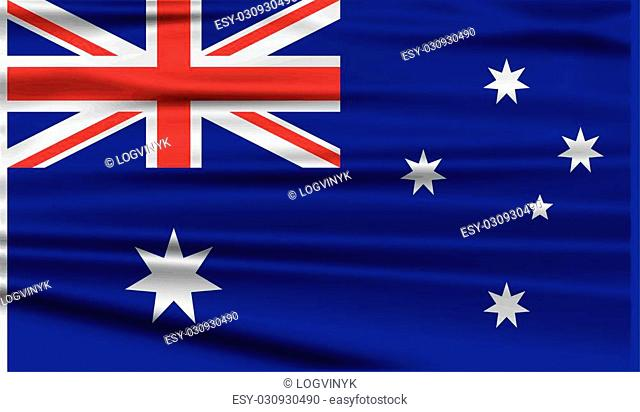 Flag of Australia with old texture. Vector illustration