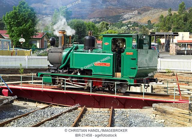 Steam engine of ABT railway in Queenstown Tasmania Australia