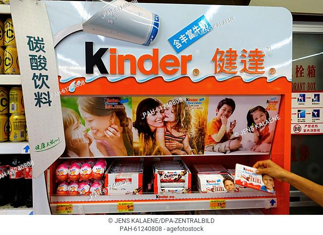 "Chocolate """"Kinder Schokolade"""" from manufactorer Ferrero are being sold at a supermarket in Shanghai, China, 31 August 2015"