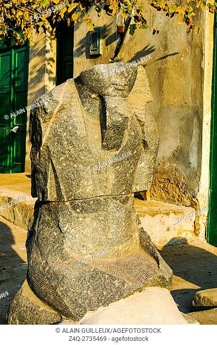 Egypt, Nile Delta, Tanis, artifacts displayed near the mission house : King statue