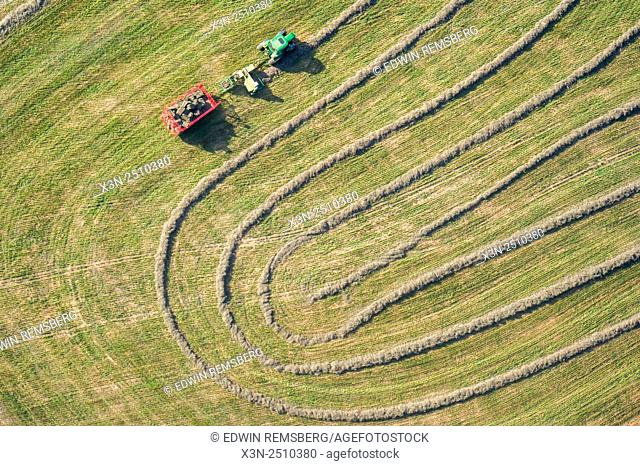 Aerial view of tractor making patterns in Harford County, Maryland