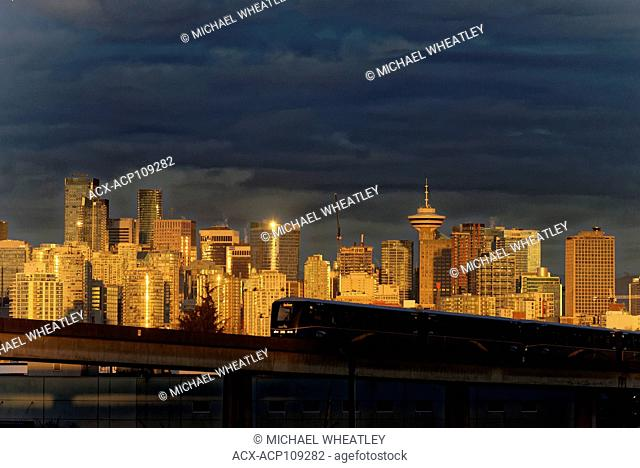 City skyline with skytrain, Vancouver, British Columbia, Canada