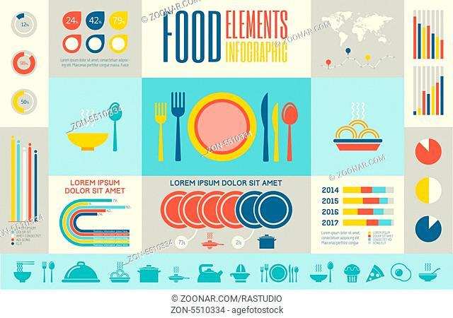 Flat Food Infographic Elements plus Icon Set. Vector