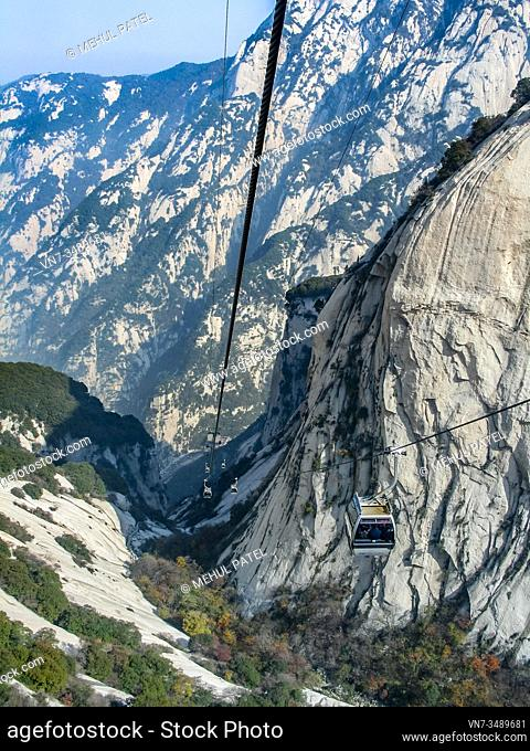 Cable Cars taking visitors to and from the summit of the sacred Mount Huashan, China, Asia. Mount Huashan is located in the Shaanxi province of China about...