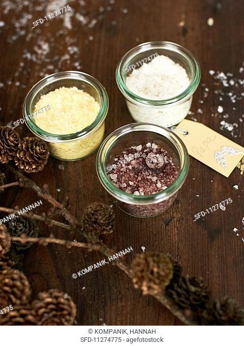 Various spiced salts as Christmas presents