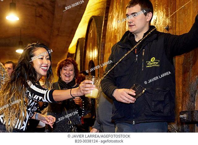 Tourists on a guided tour, Txotx, Cider barrels, Sidreria Petritegi, Astigarraga, Gipuzkoa, Basque Country, Spain, Europe