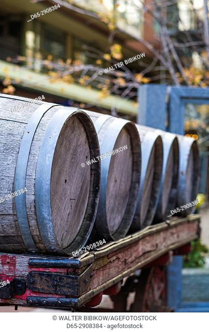 Canada, Ontario, Toronto, Distillery District, old whisky barrels