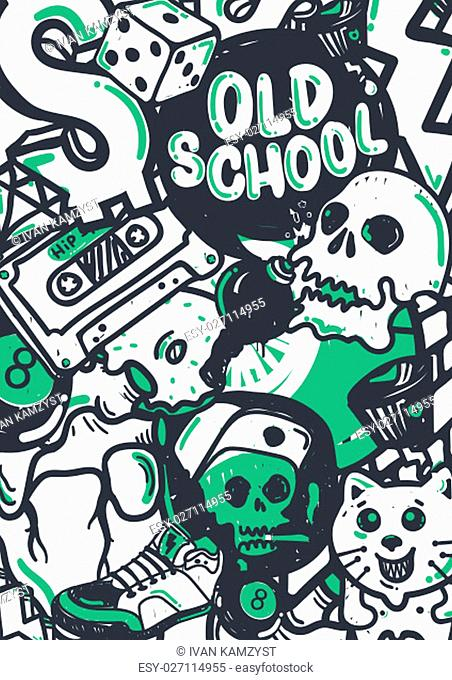 Graffiti vector stuff background sticker poster Colorful Doodle pattern in green black and white color. Used clipping mask for easy editing