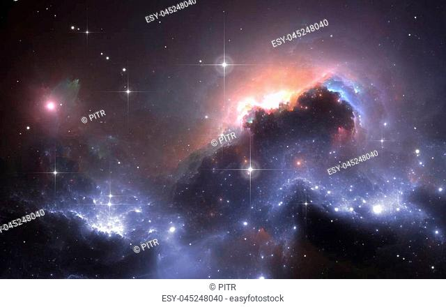 Deep space nebula with stars, 3D illustration