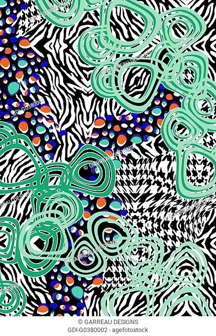 Design made up of different shapes and patterns