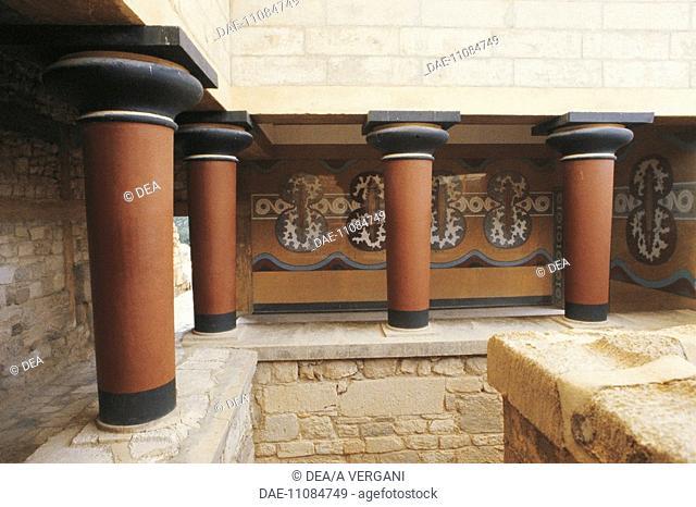 Greece - Crete - Knossos. Palace of Minos. Royal guard post. Pillared porch