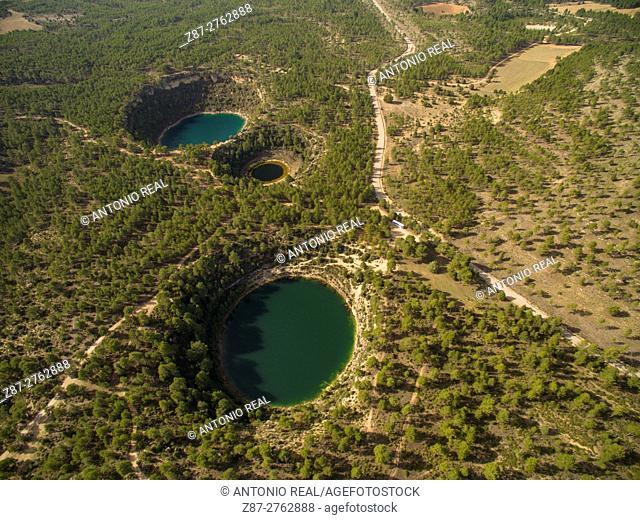 Aerial photography using a drone: Lagunas de Cañada del Hoyo Natural Monument, Serranía de Cuenca, Cuenca province, Castilla-La Mancha, Spain