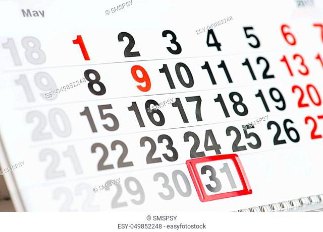 Calendar 31 May World No Tobacco Day, day of blondes, national macaroon day celebration