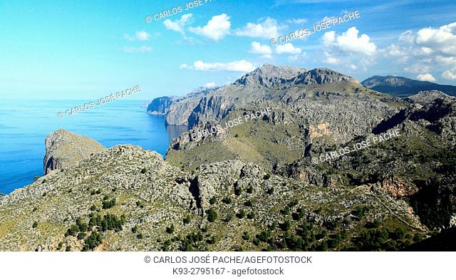 View from Torre de Sa Mola, Serra de Tramuntana, Majorca, Balearic Islands, Spain