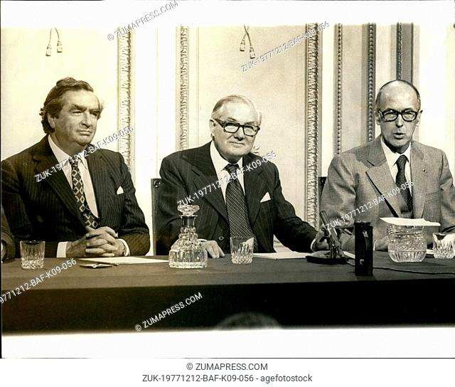 Dec. 12, 1977 - President Giscard d'Estaing and Prime Minister Callaghan give final Press Conference at Raf Holton-Bucks