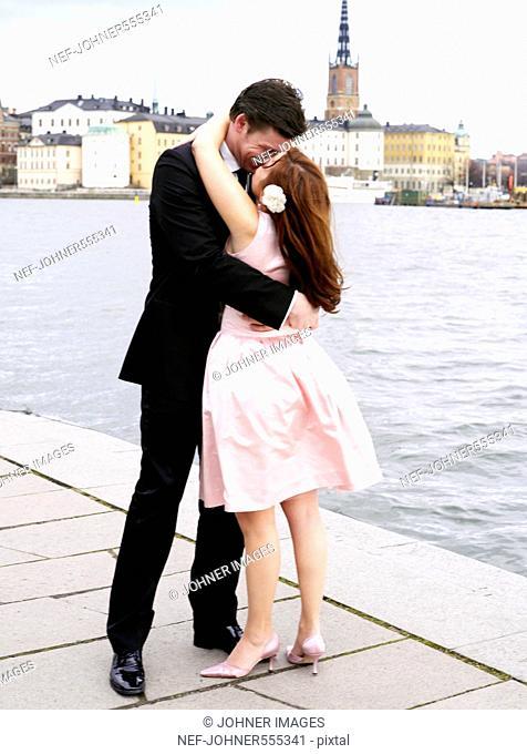 A kissing bridal couple, Stockholm, Sweden