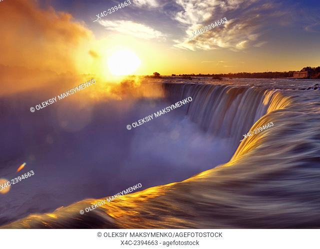 Brink of Niagara Falls Canadian Horseshoe beautiful sunrise scenery. Niagara Falls, Ontario, Canada