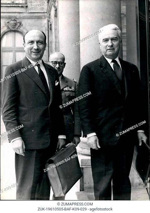 May 05, 1961 - MM. Joxe and Morin received by General of Gaulle: M. Louis Joxe, State Minister for Algerian affairs, and Mr Jean Morin