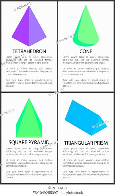Tetrahedron cone square pyramid triangular prism collection, vector illustration polygonal 3d figures with various shape, isolated text sample