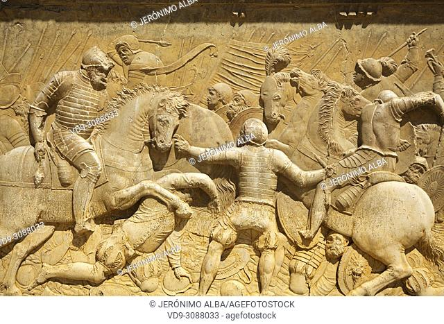Relief carving of a battle scene. Palacio de Carlos V. Palace of Charles V. Alhambra, UNESCO World Heritage Site. Granada City