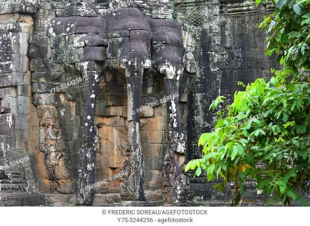 Elephant King Terrace in Angkor Thom, Siem Reap Province, Cambodia, South east Asia