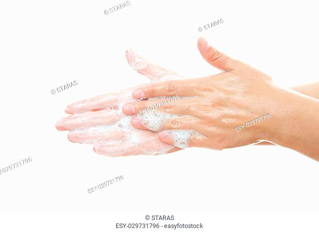 Lathered women's hands. Personal hygiene, cleansing the hands