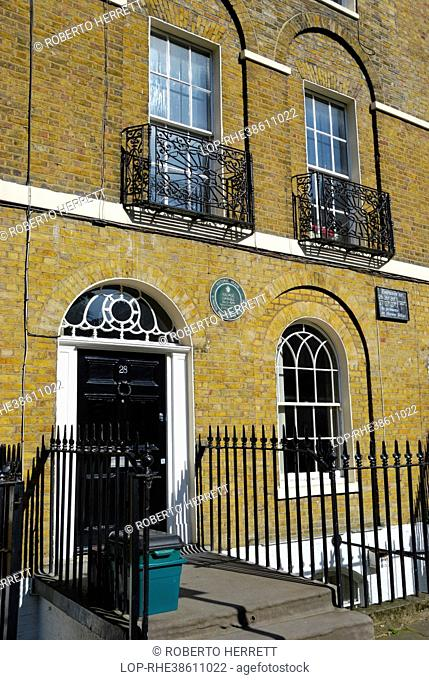 England, London, Islington. Site of the former home of George Orwell who lived at 27B Canonbury Square